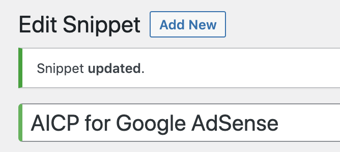 Snippet updated